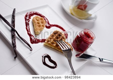 Heart Waffle, Marmalade, Chocolate Sauce, Vanilla Sticks, Square Plate, Tea