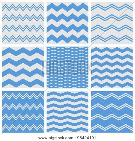 Tile chevron vector pattern set with sailor blue and grey zig zag background