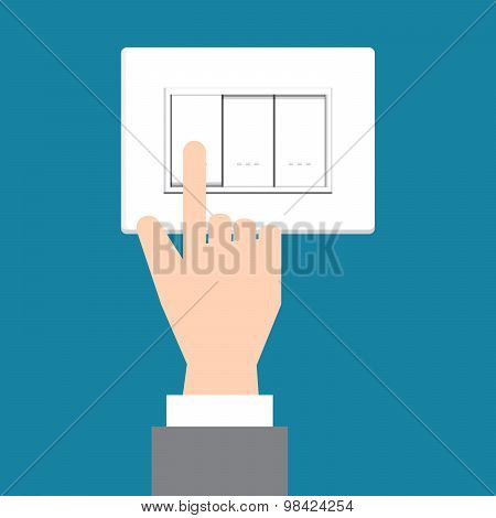 Illustration Of Business Hand Turning Operating A Wall Switch On Green Wall Background,, Vector