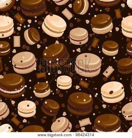 Chocolate macaroon and coffee seamless background