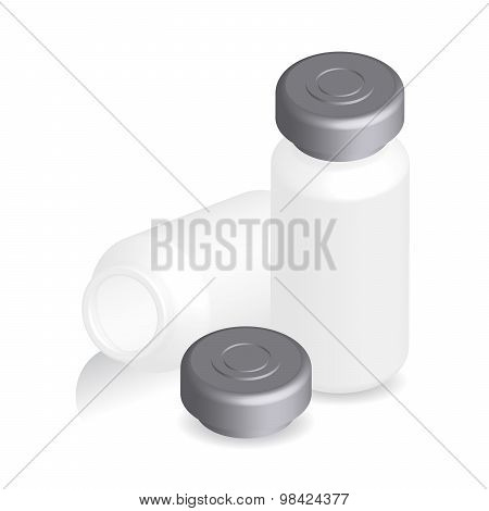 Illustration Of Ampules, Bottles, Vials Isolated On White Background, Vector