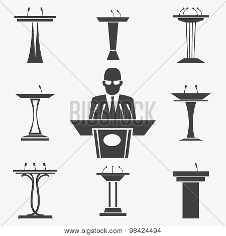 Vector set of tribunes icons