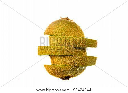 Kiwi,slices of Kiwi Fruit on white background