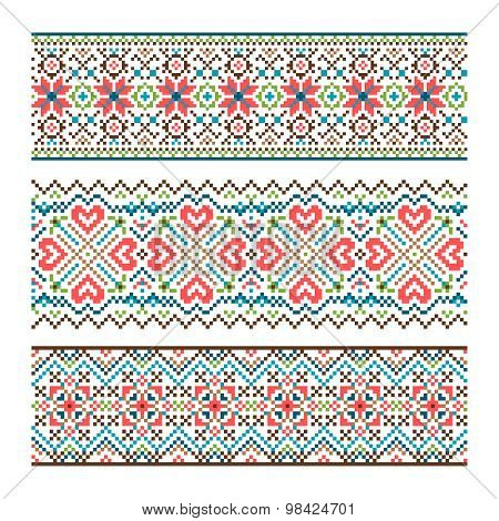 Embroidered handmade stitch Ukraine ethnic pattern