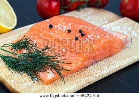 Salmon Fillet With Salt, Pepper And Dill