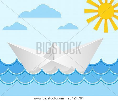 Origami paper ship on ocean waves. Vector illustration