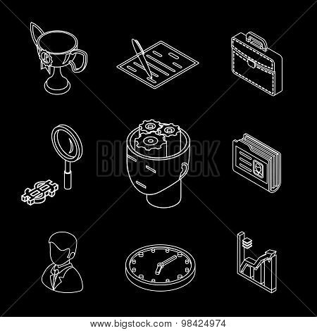 Line isometric business icons. Head gears, cup and chart