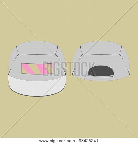 Grey cap with pink print