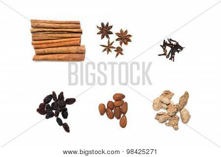 Spices for mulled wine, isolated
