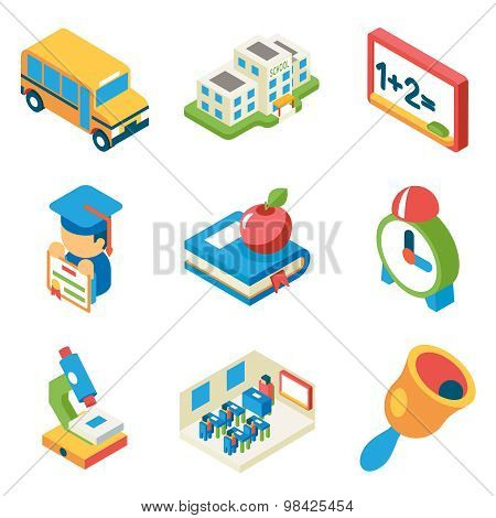 School, university and education isometric 3d flat icons