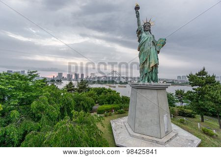 Statue of Liberty in Odaiba at sunset