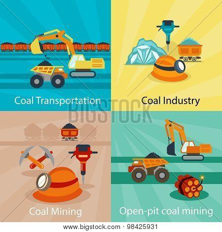 Coal industry vector concepts