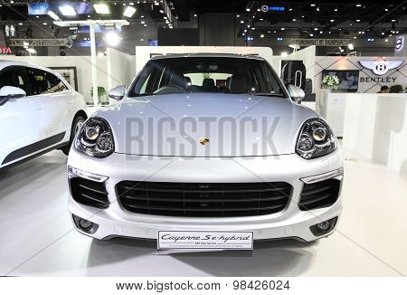 Bangkok - August 4: Porsche Cayenne Se-hybrid Car On Display At Big Motor Sale On August 4, 2015 In