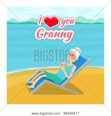 Vector grandparents day background. I love you grandma post card