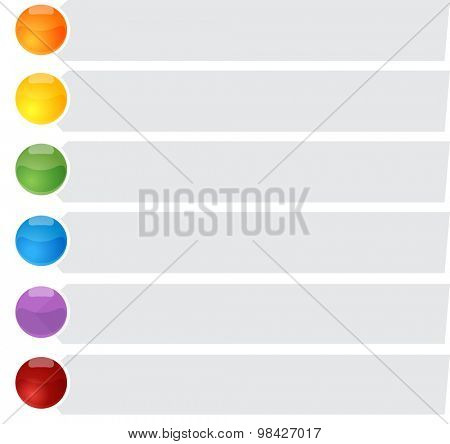 blank business strategy concept infographic diagram bullet point list illustration Six 6