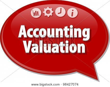 Speech bubble dialog illustration of business term saying accounting valuation