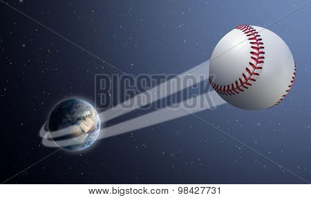 Earth With Ball Swoosh In Space