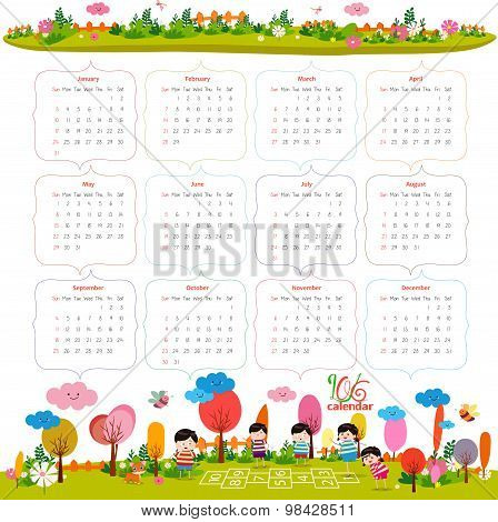 calendar for 2016 with cartoon and funny animals and kids. Hello autumn
