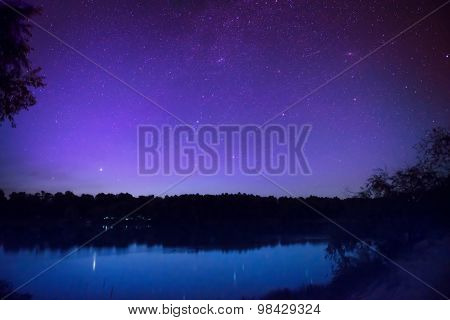 Beautiful Night Sky With Many Stars On A Lake