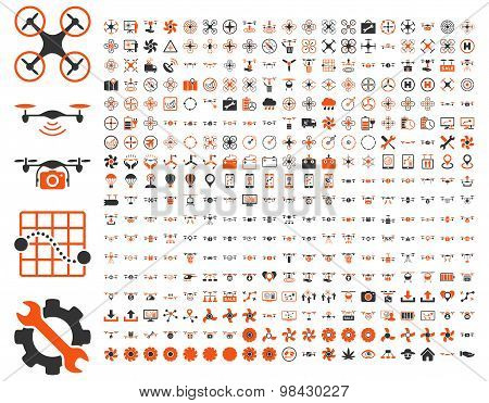 Air drones and quadcopter tools icons