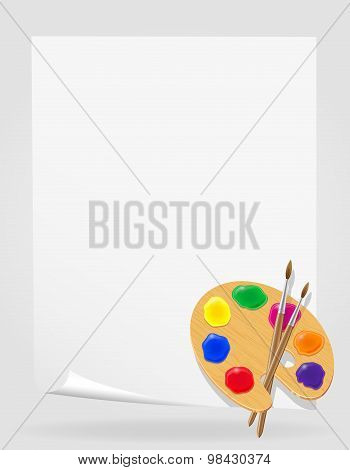 Palette For Paints And Brush Vector Illustration