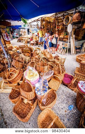 Metkovic, Croatia - July 20: Wooden Baskets Souvenirs On July 20, 2013.