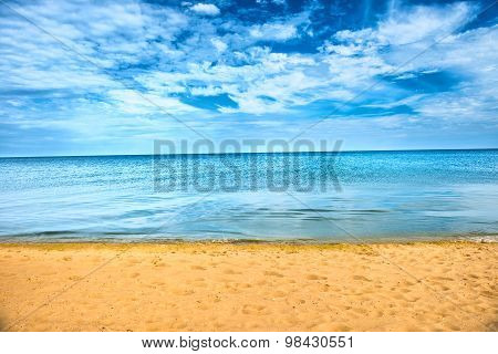 Beautiful Summer Sea And Golden Sand Beach