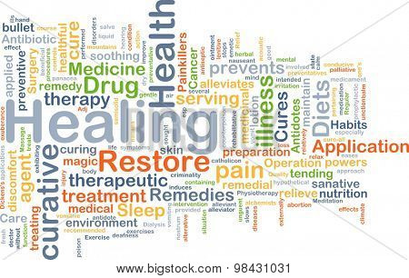 Background concept wordcloud illustration of healing