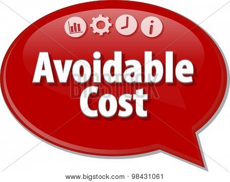 Speech bubble dialog illustration of business term saying Avoidable Cost
