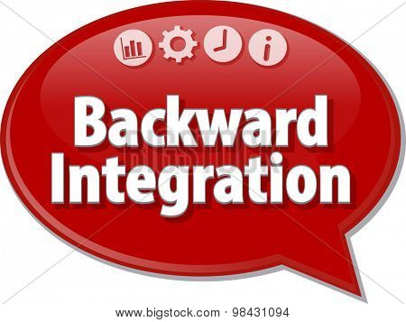 Speech bubble dialog illustration of business term saying Backward Integration