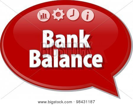 Speech bubble dialog illustration of business term saying Bank Balance