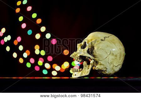 Still Life White Human Skull On Wooden Table With Bokeh Background