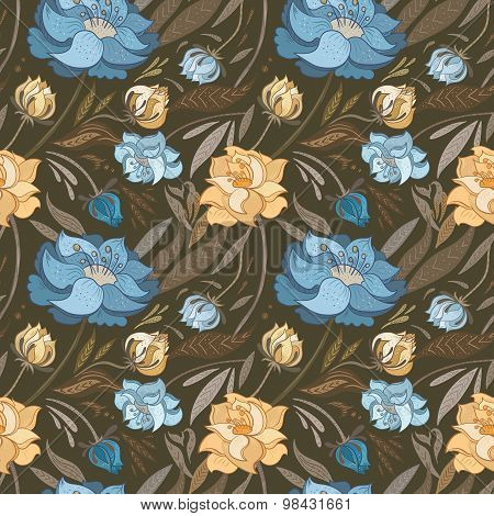 Autumn Brown Vector Floral Pattern