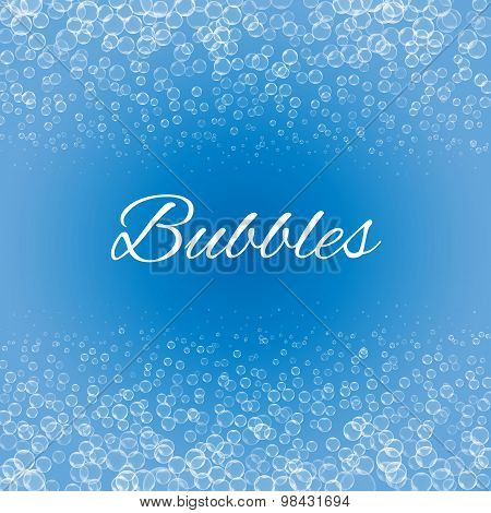 bubbles  on blue background,