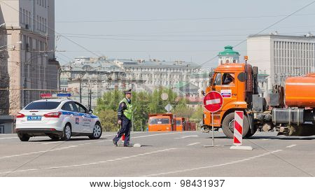 Police Guard At Work