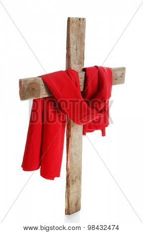 Cross with red cloth, isolated on white