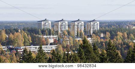Urban area up North in October.