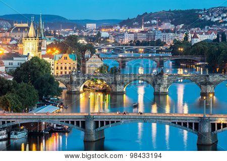 view of Bridges on Vltava, Prague at dusk