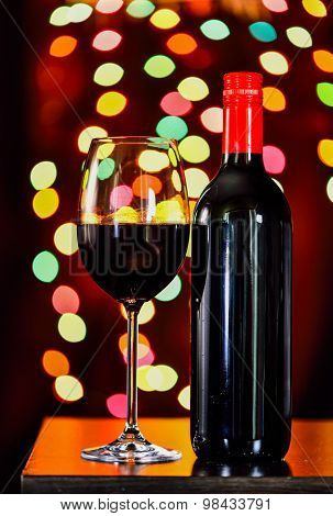 Still Life, Red Wine With Glass And Bokeh Background, Lowkey
