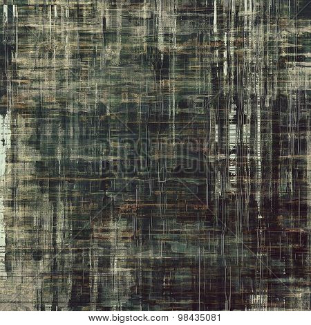 Grunge texture with decorative elements and different color patterns: brown; gray; black; green