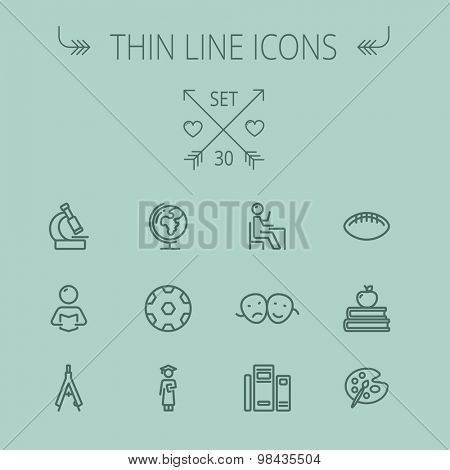 Education thin line icon set for web and mobile. Set includes- global, books, compass, pallette, balls, two heads, reading icons. Modern minimalistic vector flat design.