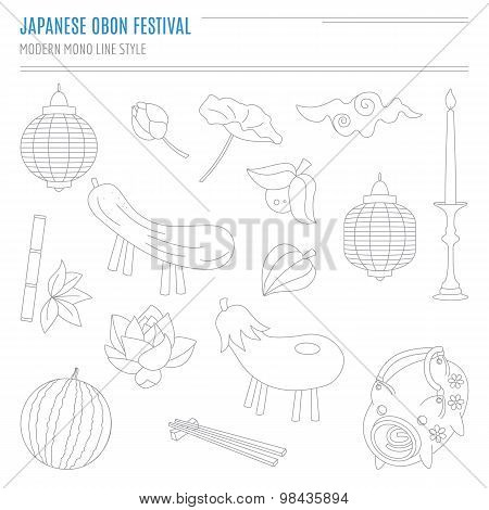 Set of Japanese summer Bon Festival attributes in modern