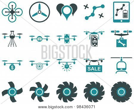 Air Drone And Quadcopter Tool Flat Icon Set
