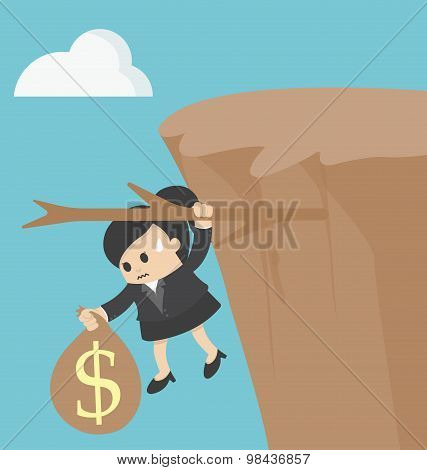 Business Woman Fiscal Cliff Concept