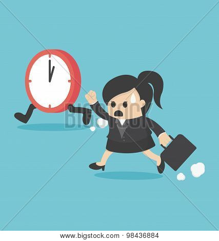 The Time Management Business Woman Running