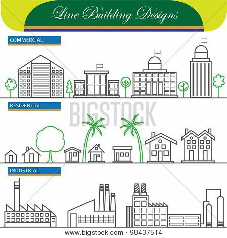 Vector Line Concept Icons Of Commercial, Residential And Industrial Buildings