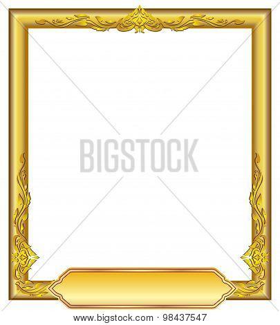 Gold Frame Floral Line Art Design Luies