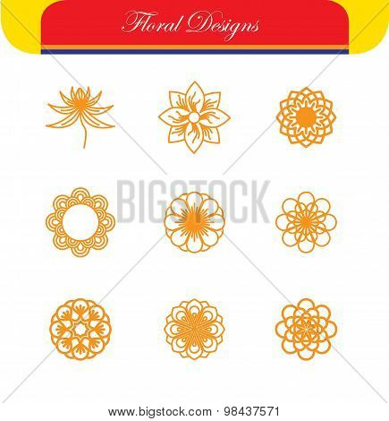 Vector Floral Line Icons & Logo Design Templates In Outline Style