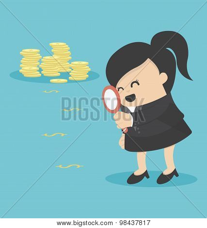 Business Woman Looking On Dollar Through Magnifying Glass