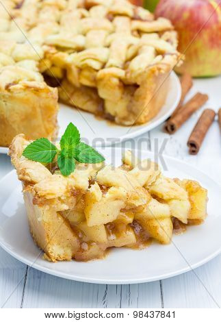 Homemade Delicious Apple Pie With Lattice Pattern